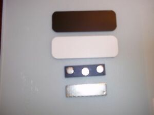 50 White black Blank Name Badges Tags 1x3 With Magnets And Rounded Corners