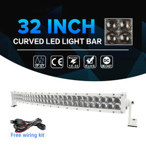 White 32inch 420w Cree Curved Led Light Bar Spot Flood Offroad Truck Suv Ute 30