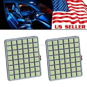 2x Ice Blue 48 Smd Led Panel Lights Dome Map Trunk Cargo Lamp 12v Adapters