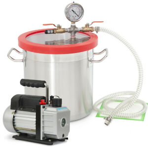 5 Cfm 1 2hp Vacuum Pump Single Stage W 3 Gal Vacuum Degassing Chamber Gallon