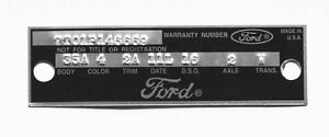 New Ford Fairlane Mustang Warranty Door Data Plate 1966 1967 Punched Custom