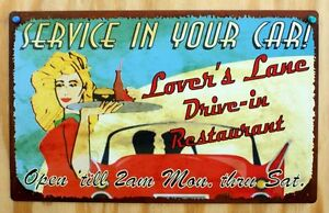 Retro Style Lover's Lane Drive-In Restaurant Tin Metal Sign Car Carhop