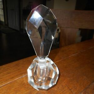 Vintage Art Deco Beveled Cut Glass Crystal Perfume Bottle Lg Top W Dauber