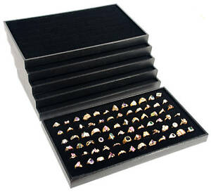 6 72 Slot Black Ring Display Travel Tray Jewelry Organizer Showcase Inserts