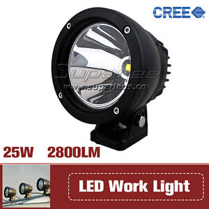 25w Pair Round Cree Led Work Light Spot Beam Offroad Driving Fog Jeep Ute Suv