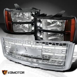 Fits Gmc 2007 2013 Sierra 1500 Black Headlights chrome Honeycomb Hood Grille