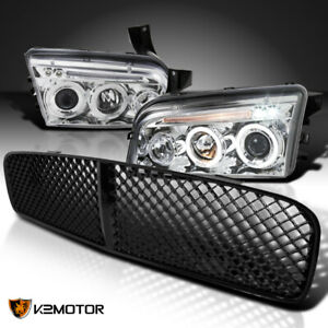 For 2006 2010 Dodge Charger Led Halo Clear Projector Headlights Black Grille