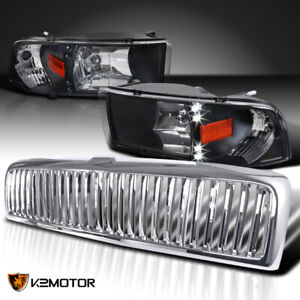 Dodge 94 01 Ram 1500 Black Led Headlights chrome Vertical Grille