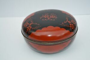 Antique Beautiful Oriental Japanese Asian Lacquer Box Wonderful Color Great Con