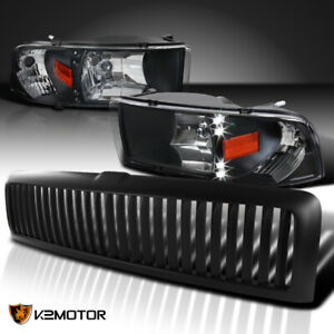 Dodge 94 01 Ram 1500 Black Led Headlights vertical Hood Grille