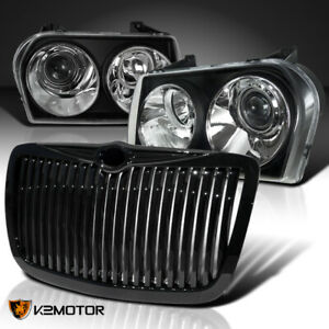 For 2005 2010 Chrysler 300 Black Projector Headlights vertical Hood Grille