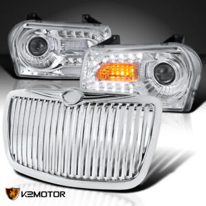 For 2005 2010 Chrysler 300 Clear Led Signal Projector Headlights Vertical Grille