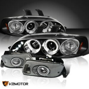 For 92 95 Civic Black Dual Halo Led Projector Headlights Clear Fog Lamps