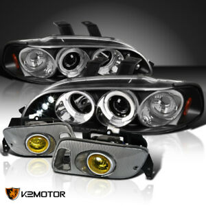 For 92 95 Civic Black Dual Halo Led Projector Headlights Yellow Fog Lamps