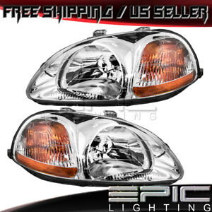Headlights Headlamps For 1996 1998 Honda Civic Left Right Sides Pair