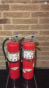 Set Of 2 Refurbished 10lb Abc Fire Extinguishers Certified Tag Scratch