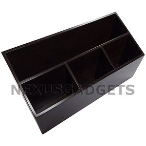 Desk Organizer Black Walnut Wood Valet classy Home Office Desk Wooden Decor New