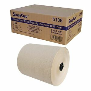 8 2 Brown 1 ply Paper Hand Capacity Touchiess Roll Towel 8 2 x700 6 Rolls cs