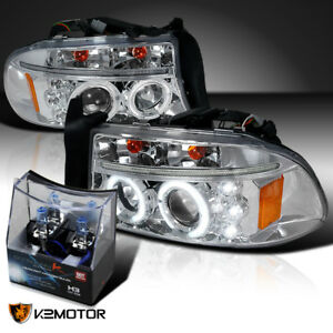 97 04 Dodge Dakota durango Chrome Halo Led Projector Headlights h3 Halogen Bulbs