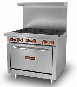 Sierra 36 Sr 6 36 Stainless Steel 4 burner Commercial Gas Range And Oven Combo
