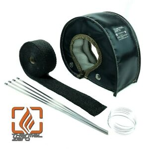T3 T4 Small Turbo Blanket Heat Shield T04 48 50 A R Black With Wrap And Ties