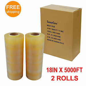2 Rolls Premium Food Meat Wrapping Film Clear 11mic 18 In X 5000 Ft
