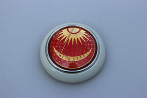 Vw Type 12 Bug Bus Petri Red Sun Moon Steering Wheel Horn Button Grey Base