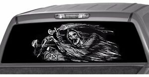 Riding Grim Reaper Anarchy Window Graphic Tint Decal Sticker Truck Sons Season