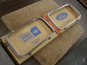 Nos Oem Ford 1965 Fairlane Headlight Door Bezels Pair Trim