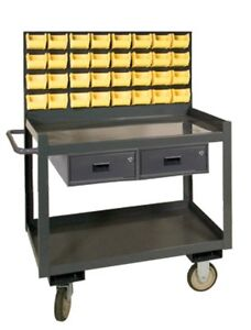 Durham Mobile Workstation Parts Janitorial Cart With Panel And 32 Bins 36 X 24