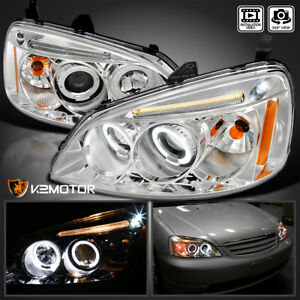 For 2001 2003 Honda Civic Led Halo Crystal Clear Projector Headlights Left Right
