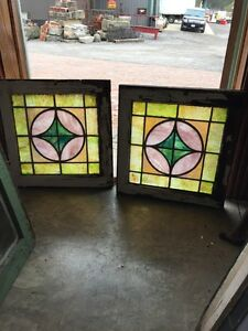 Sg 368 Matched Pair Kaleidoscope Small Stained Glass Windows