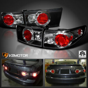 For 2003 2005 Honda Accord 4dr Sedan Jdm Black Tail Lights Pair
