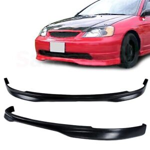 Made For 2001 2003 Honda Civic Type r Style Jdm Front Bumper Pu Chin Lip Spoiler