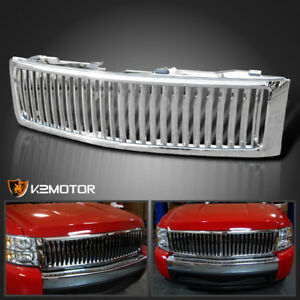 2007 2013 Chevy Silverado 1500 Chrome Vertical Front Bumper Hood Grill Grille