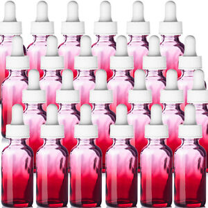 Red 1oz New Glass Boston Round Bottles 24 Red With White Glass Dropper Tops