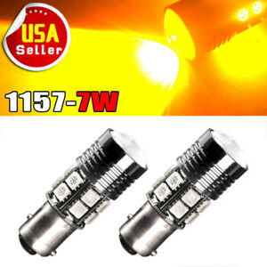 2x Amber 1157 Bay15d 12smd Led Light Bulb Tail Brake Stop Turn Signal 1142 1076