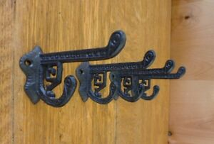4 Brown Antique Style Cast Iron Eastlake Style Victorian Coat Hooks Hardware Art
