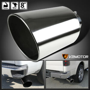 Bolt on 15 Chrome Stainless Steel 4 Inlet 8 Outlet Truck Exhaust Muffler Tip