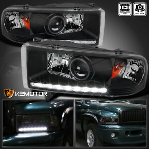 For 1994 2001 Dodge Ram 1500 2500 3500 Black Smd Led Strip Projector Headlights