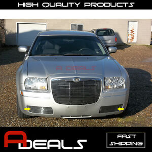 For 2005 2010 Chrysler 300 Bumper Billet Grille Insert fog Lights Cover
