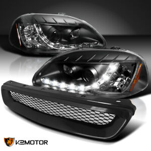 For 1996 1998 Honda Civic R8 Led Drl Projector Headlights Black Jdm Hood Grille