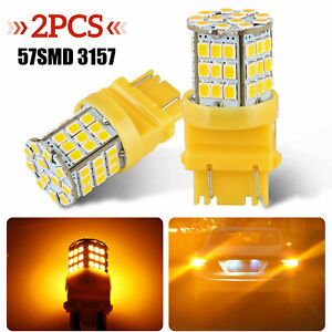 2pcs 57 Smd 3157 Led Amber Yellow Turn Signal Parking Drl High Power Light Bulbs