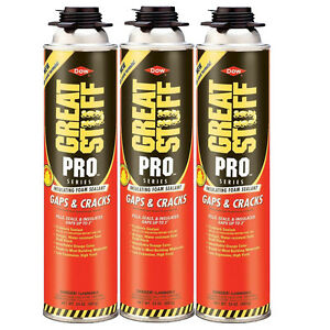 Dow Great Stuff Pro Gaps And Cracks 24 Oz Gun Foam 3 Cans 341557