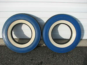 2 Vintage 1956 Nos 7 10 15 U S Royal Master Blue Color Wall White Wall Tires