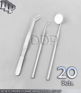 20 Sets Professional Basic Dental Set Kit Mirror Explorer Plier