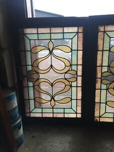 Sg 418 Matched Pair Antique Windows With Beveled Glass Center