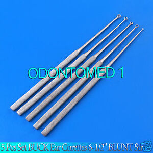 5 Pcs Set Buck Ear Curettes 6 1 2 Blunt Str Ent Surgical Instruments