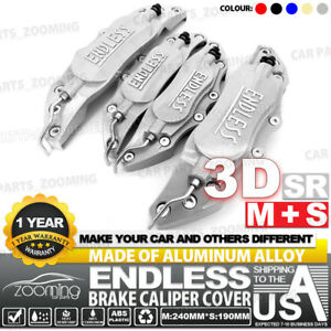 Metal 3d Endless Universal Style Brake Caliper Cover Front rear 4pcs Silver Lw04