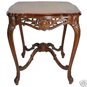 French Louis Xiv Style Inlaid Marquetry Side Table Walnut Satinwood